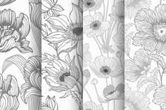 Check out set of seamless monochrome flowers by citradora on Creative Market