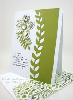 """hand,ade card"""" Botanical Blossoms ... green and white ... matching patterned paper for envelope flap and die cut flower ... Stampin' Up!"""