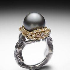 Matthieu Cheminee - New art nouveau ring Pearl Jewelry, Jewelry Art, Antique Jewelry, Jewelry Rings, Silver Jewelry, Jewelry Design, Pearl Rings, Modern Jewelry, Jewlery