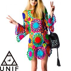 UNIF Psych Out Crochet Dress