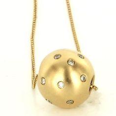 Estate 14 Karat Yellow Gold Diamond Ball Sphere Pendant Enhancer Necklace Used $395