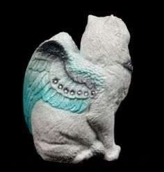 "Windstone Editions ""Winter 1"" Small Flap Cat Figurine Winged Cat Statue 