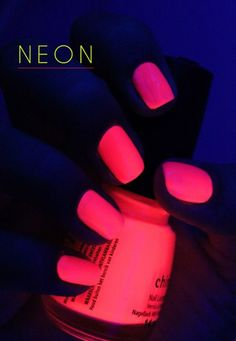 Rock your world with this hot pink neon glow in the dark nail polish. It looks astounding and can be a true head turner and attention getter when you wear them at a place with low light.