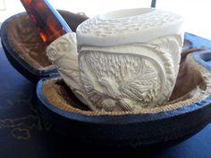 carved smoking pipe gift idea Turkish amber Bakelite stem Meerschaum Pipe