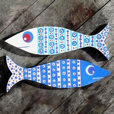 Big Blue Circles Pointy Wooden Fish wooden fish bathroom... | review | Kaboodle