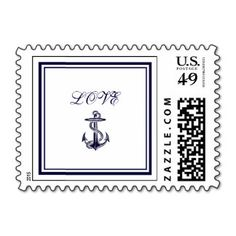Nautical Anchor Navy Blue Framed 2 LOVE Small Stamps