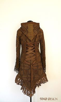 LACE CARDIGAN JACKET crochet gypsy Steampunk Pixie Tribal fairy elven gipsy by SINDdesign on Etsy