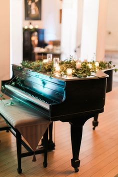 Wedding ceremony downtown los angeles grand piano with candles and greenery on top decorations Piano Wedding, Wedding Ceremony, Wedding Music, Chic Wedding, Wedding Decor, Wedding Ideas, Piano Pictures, Baby Grand Pianos, Instruments