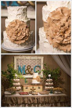 Burlap+Wedding+Theme   Rustic Burlap Cake by Intricate Icings   ...   Vintage wedding theme