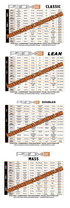 P90X3 Workout Schedules. Click photo to download PDF versions. #p90x3 #p90x #tonyhorton