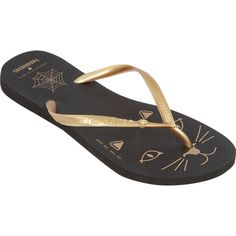 Havaianas Kitty Slim ($65) ❤ liked on Polyvore featuring shoes, sandals, flip flops, black, women, metallic gold shoes, havaianas shoes, gold metallic sandals, havaianas sandals and kohl shoes
