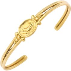 Preowned 1990s Helen Woodhull Egyptian Revival Gold Cuff Bracelet ($1,900) ❤ liked on Polyvore featuring jewelry, bracelets, multiple, yellow gold bangle, cuff bracelet, hinged cuff bracelet, gold cuff bangle und 18 karat gold jewelry
