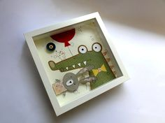 Diorama Shadow Box Rabbit Crocodile Mouse White Red por Desfigura, $85.00