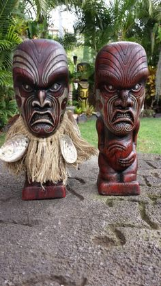 Haka tiki statue. #1/10 on the left. This is the Ali'i edition of only 10 statues in this red with hand painted detail. Made in Hawaii by Gecko, sculpt by Squid