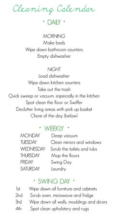 Weekly cleaning schedule.  Add in a load of laundry a day.