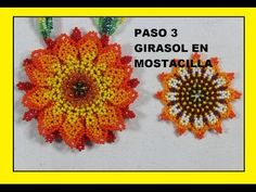 PASO DOS GIRASOL EN MOSTACILLA - YouTube Embroidery Jewelry, Beaded Embroidery, Peyote Patterns, Beading Patterns, African Beads Necklace, Beaded Bracelets Tutorial, Peyote Beading, Handmade Beaded Jewelry, Native American Beading