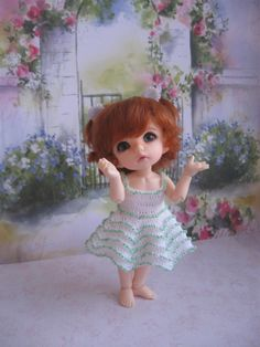 Dress for a doll BJD Lati Yellow PukiFee crocheted with beads