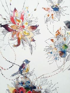 Items similar to Original painting. unique hand painted Bird and flowers illustration with watercolour and pen design. Floral Illustrations, Botanical Illustration, Illustration Art, Watercolor Flowers, Watercolor Paintings, Original Paintings, Silk Painting, Painting & Drawing, Art Sketchbook