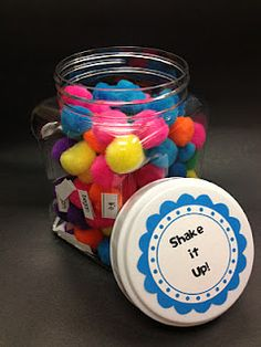 Shake It Up: glue sight words to pom-poms. Students shake jar to find word, read it, and write it down (maybe have students match it to response sheet by coloring it the same color as the pom-pom)