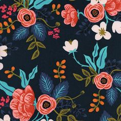 RAYON Birch Floral in Navy by Rifle Paper Co by angryllamafabrics