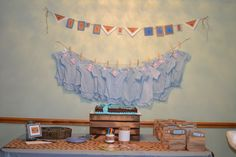 decorate a onesie for boy baby shower - clothes line
