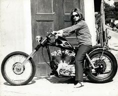 "This was on a 60s Ironhead forum... the guy writes ""Found these great pics in ""jody lanza's photostream"" on ""flickr"". I'm guessing this is the daughter of the late Dean Lanza who built a lot of custom bikes back in the 60's.""    I hope she ripped it up on this bike!"