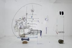 Sarah Sze Disappearing Act 2012 Mixed media, glass, stainless steel, marble, foam core, string, rocks, LED's, egg shells, toothpicks, wood, ...