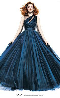 Midnight blue Dior FW 2012-13. Worn by Karen Elson.