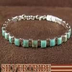 Authentic Sterling Silver And Turquoise Inlay Link Bracelet
