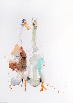 JEN BUCKLEY contemporary signed DUCKS Watercolour PAINTING large A3 | eBay