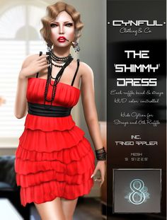 Cynful The 'Shimmy' Dress - Demo available - 6 recolors available - Tango appliers, Included - HUD color control for ruffle, band, & strap - 288L each