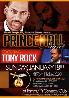 Menelik Temple #36 Prince Hall Night featuring Comedian Tony Rock