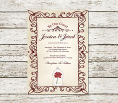 Beauty And The Beast Wedding Invitation Printable Be Our Guest Digital File Princess Movie Dream