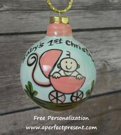 BABY'S 1ST CHRISTMAS PINK BUGGY ORNAMENT