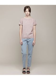 A.P.C Melange Boatneck Sweater, Washed Denim Trousers & Wedge Sandal