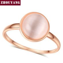 Top Quality ZYR153 Concise Cat's Eye Stone Ring  Rose Gold Plated  Austrian Crystals Full Sizes Wholesale(China (Mainland))