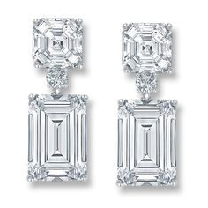 Melissa Cher And Emerald Cut Drop Cz Earrings 15 2 Ct Tw