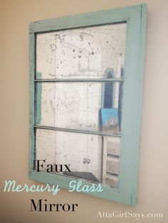 Mercury Glass Mirror DIY faux mercury glass mirror from an old window. Learn how to make one with spray paint at DIY faux mercury glass mirror from an old window. Learn how to make one with spray paint at Looking Glass Spray Paint, Krylon Looking Glass, Window Pane Mirror, Window Frames, Window Glass, Glass For Windows, Glass Door, Window Paint, Leaded Glass