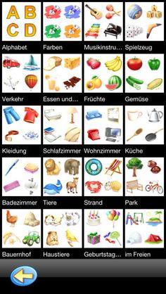 TicTic lær tysk. Her beder pigen dig om at gentage ordene på tysk. de er alle begynder ordene. Under Mein Fotoalbum kan man selv tilføje ord og udtale. Appen er gratis, men man skal tilkøbe alle kategorierne.