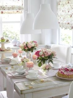 Flower candles in teacups All Things Shabby and Beautiful