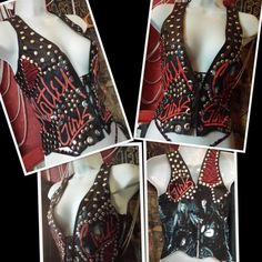 motley crue leather vest by Chaosville on Etsy, $100.00 - This chick's stuff is amazing!