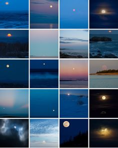 Typology of full moons over Maine. Photography by Jim Nickelson.