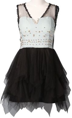 Black Contrast Denim Lace Rivet Lace Dress - Sheinside.com Mobile Site