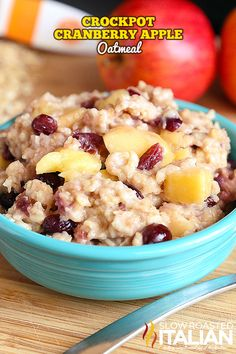 Cranberry Apple Crockpot Oatmeal / A simple recipe that is bursting with flavor. Sweet and creamy oatmeal speckled with chunks of apple and cranberry. Prep it the night before, then just dump it all in your slow cooker and let it cook while you get ready for the day or cook it overnight if you prefer. It is absolutely amazing and will surely be a family favorite! Get the recipe here!