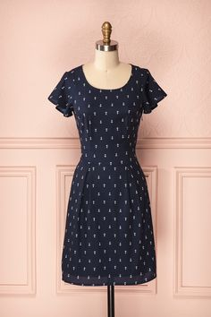 Verlye - Short-sleeved navy blue dress with ivory anchor print - 1861