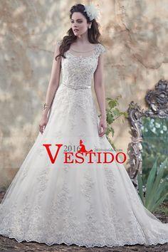2016 Scoop una línea de la manga casquillo de la boda vestidos de tul con apliques Y Sash