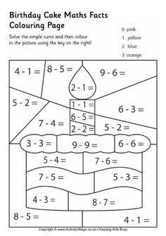 Birthday cake maths facts colouring page Math facts, Math, Math work Kindergarten Math Worksheets, School Worksheets, Teaching Math, Math Activities, Math For Kids, Fun Math, School Lessons, Math Lessons, Birthday Coloring Pages