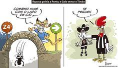 Charge do Dum (Zona do Agrião) sobre as vitórias de Cruzeiro e Atlétco no #CampeonatoBrasileiro (23/06/2016). #Charge #Dum #Brasileirão #Cruzeiro #Atlético #Galo #HojeEmDia