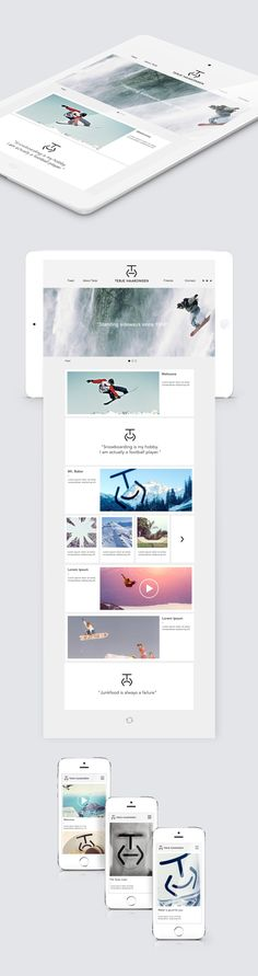 Visual identity for snowboard legend Terje Haakonsen. Design Ios, Mobile Ui Design, Site Design, Web Responsive, Ui Web, Wireframe, Application Design, User Interface Design, Web Design Inspiration