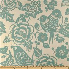 Fabric Swatch: Thomas Paul Aviary Robin; Colors: Robins Blue on an Ivory Background